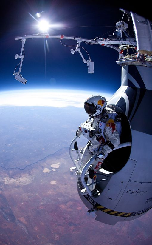 Pilot Felix Baumgartner of Austria is seen before his jump during the first manned test flight for Red Bull Stratos-763475.jpg